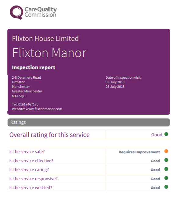 Trafford Care home Flixton Manor review